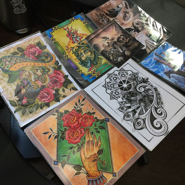 Prints by @bradburkhart for sale on the 29th at the shop. The proceeds will be going to @horichata Bobby Flores and his family. Bobby is one of our tattooers and is currently fighting for his life. Bobby has been in the ICU for the last 2 months waiting for a heart transplant. We will be hosting a fundraiser at the shop April 29th from 12-8pm. We will be tattooing designs from our flash set. Walk ins only. Prices will range from $75-225 all the proceeds will be going to Bobby's family. Prints will be available for $10-20. @chriscockadoodledo is also raffling a tattoo machine for sale to tattooers only. If you would like to donate outside of the fundraiser please follow the link to Bobby's #gofundme https://www.facebook.com/terri.bernardo.3/posts/10215624024743760