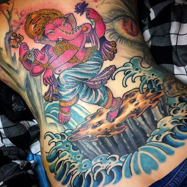 This #Ganesha #back #tattoo done by @johnsabin at #remingtontattoo #ganeshatattoo #backpiece #backtattoo #sandiegotattooartist #northparktattooartist #sandiego #northpark #sd