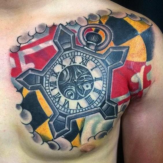 This #Maryland #watch #tattoo done by @johnsabin at #remingtontattoo #marylandtattoo #watchtattoo #flag #flagtattoo #sandiegotattooartist #northparktattooartist #northpark #sandiego #sd