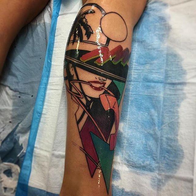 This #80s inspired tattoo done by @gust_razotattoos at @remingtontattoo #80stattoo #legtattoo #80sinspired #northpark #sandiego #sd #sandiegotattooartist