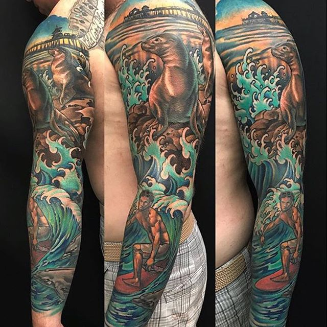 This Huntington Beach sleeve done by @nathanieltattoo at @remingtontattoo #huntingtonbeach #nauticaltattoo #northpark #sandiego #sandiegotattooartist #beachtattoo #sleevetattoo #armtattoo