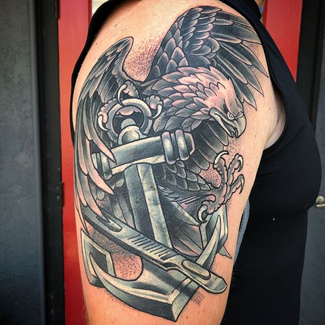 This #eagle #anchor and #scalpel #navy #tattoo done by @chriscockadoodledo at #remingtontattoo #eagletattoo #anchortattoo #scalpeltattoo #navytattoo #sailortattoo #traditional #traditionaltattoo #tradtattoo #traditionalstyle #northparktattooartist #sandiegotattooartist #northpark #sandiego #sd