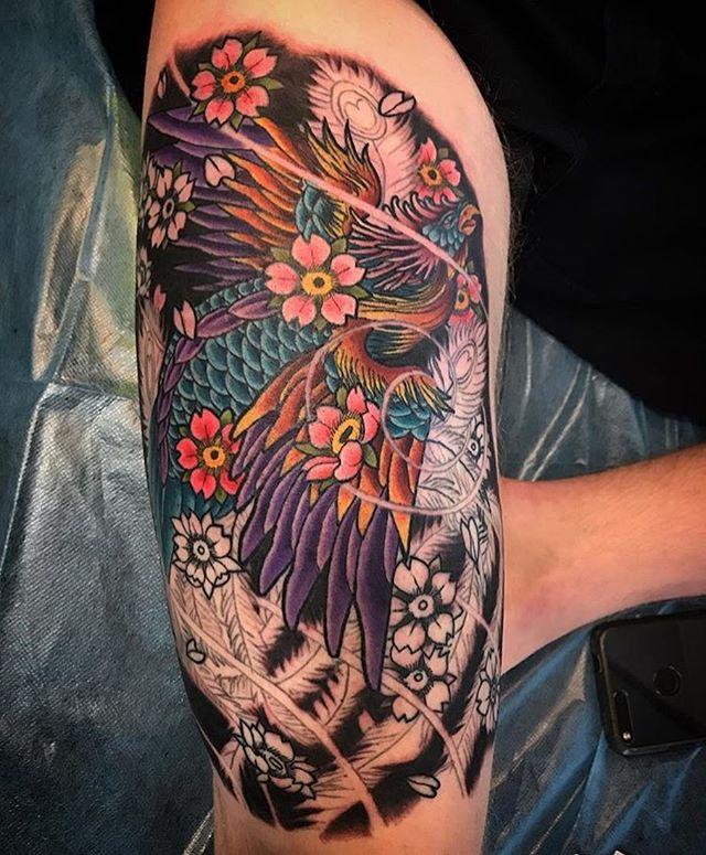 This #Phoenix #tattoo in the works by @tattoosbykriskezart at #remingtontattoo #phoenixtattoo #bird #birdtattoo #sandiegotattooartist #northparktattooartist #sandiego #northpark #sd