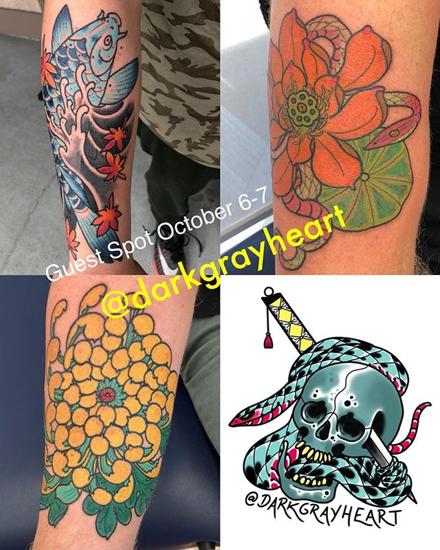 Our friend Ryan Murray @darkgrayheart will be guest spotting with us October 6-7 please contact him directly about getting tattooed through his Instagram!