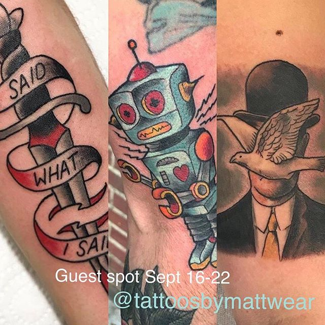 Our friend @tattoosbymattwear will be tattooing with us September 16-22 please contact him directly to arrange time with Matt.