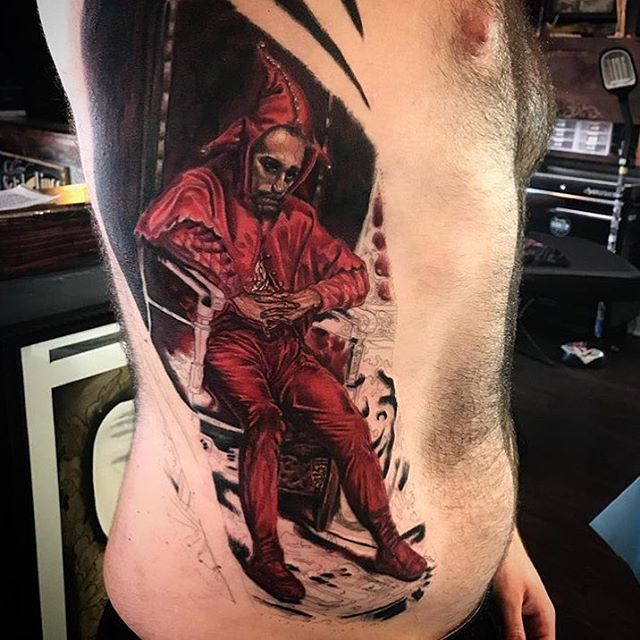Progress on this #jester #sidepanel #tattoo in the works by @tattoosbykriskezart at #remingtontattoo so close! #realism #realismtattoo #jestertattoo #paintingtattoo #painting #northparktattooartist #sandiegotattooartist #sandiego #northpark #sd