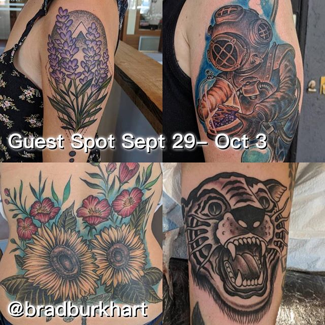 Our friend @bradburkhart will be tattooing with us Sept 29-October 3 please contact him directly to arrange time with Brad.