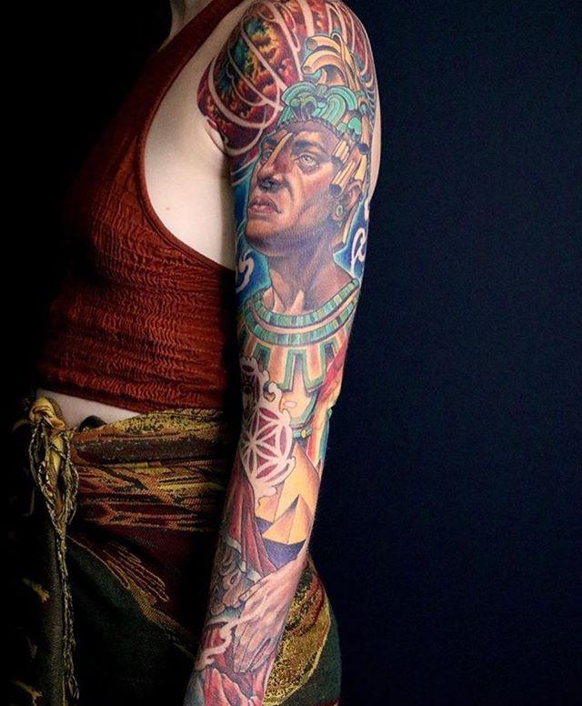 This full #sleeve #tattoo done by @nathanieltattoo at #remingtontattoo #sleevetattoo #northparktattooartist #sandiegotattooartist #northpark #sandiego