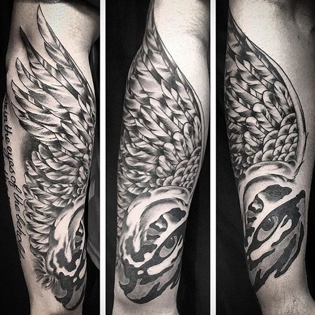 This #wing and #eye #halfsleeve #tattoo done by @johnsabin at #remingtontattoo #wingtattoo #eyetattoo #northparktattooartist #sandiegotattooartist #northpark #sandiego #sd