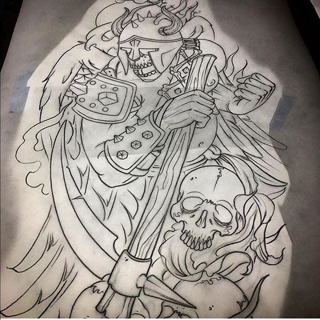 This design done by @johnsabin for an upcoming sleeve. #deathtattoo #skulltattoo #skeletontattoo #sleevetattoo #northparktattooartist #sandiegotattooartist #sandiego #sd #northpark