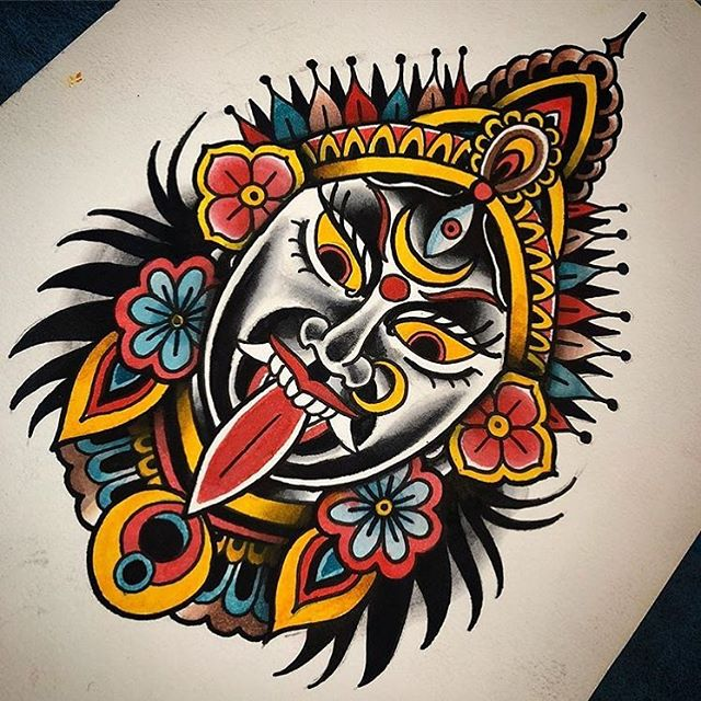 This #kali #tattoo #design #painting done by @chriscockadoodledo at #remingtontattoo would make for a great tattoo! Contact chris for details! #tattoodesign #kali #kalitattoo #tattoopainting #head #headtattoo #sandiegotattooartist #northparktattooartist #sandiego #sd #northpark