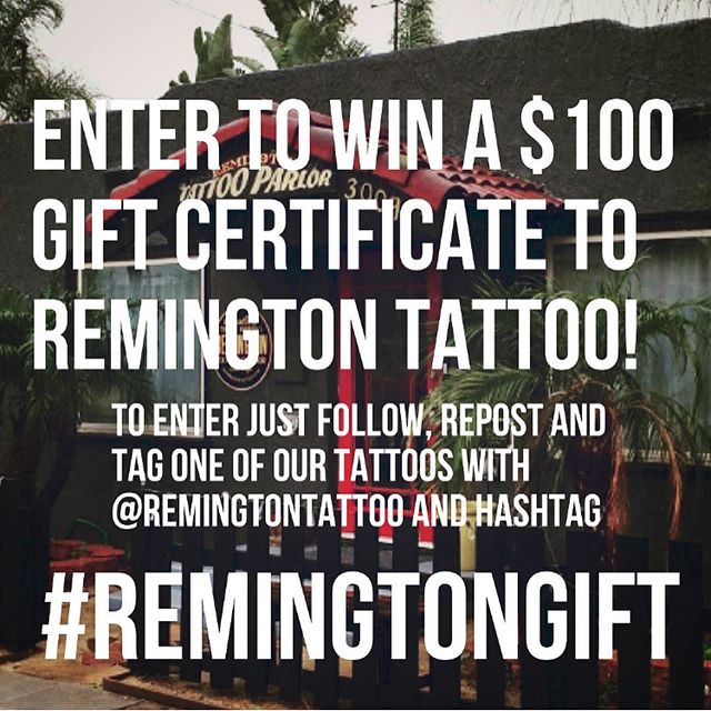 Enter the Remington Tattoo Holiday Raffle to win a $100 Gift Certificate to Remington Tattoo!!! All you have to do to enter is Follow us, Repost one of our tattoos (pick your favorite!) and Tag us @remingtontattoo with Hashtag #REMINGTONGIFT The winner will be announced the week of December 16th. Makes a great holiday gift! Be sure to tag your friends!!! #sandiegotattoo #sandiegotattooartist #sandiegotattooshop #tattooraffle