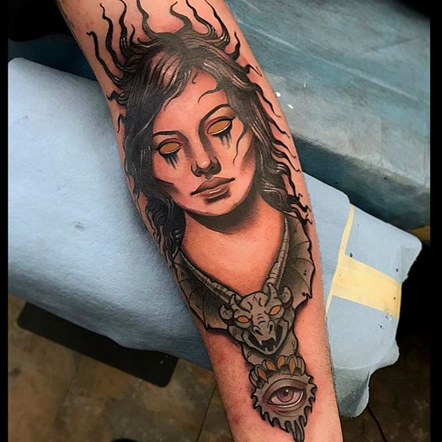 This demon lady head done by @jasmineworthtattoos #demonladytattoo #kingdiamond #armtattoo #sandiego #sd #northparktattooartist #remingtontattoo