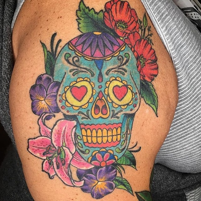 This #dayofthedead #skull done by @johnsabin at @remingtontattoo #sugarskull #diadelosmuertos #armtattoo #shouldertattoo #sandiego #sd #northpark #northparktattooartist #sandiegotattooartist #remingtontattoo