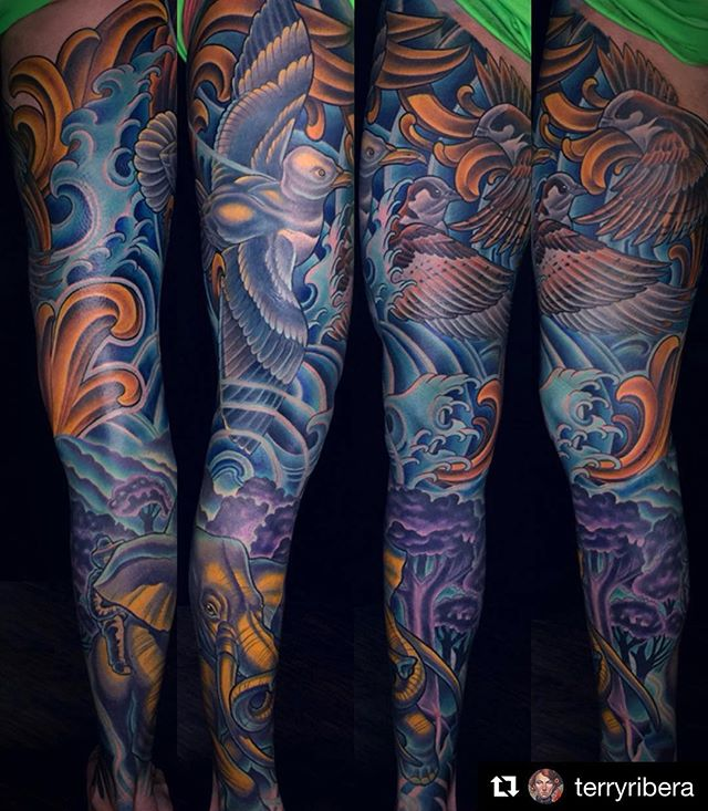 #Repost of an awesome leg tattoo by @terryribera ・・・Thanks @cjforse for sitting like a champ for all of this.  I believe this entire leg might have taken 26 hours for us to complete.  You can some videos of us working on through my feed and of course some live video saved to my stories as well.  I originally tattooed CJ about 2-3 years ago when we tattoo the elephant last his lower leg.  He later booked for his upper leg about a year ago and we where able to start the project a couple months back finishing it last night.  It takes a lot of dedication to get a full leg done, much more than an arm.  Typically a full color arm takes me 16-21 hours and a leg sleeve 21-30 hours.  It's a tremendous amount of tattooing.  Anyhow I had a lot of fun with this.  @terryribera @remingtontattoo #elephanttattoo #seagulltattoo