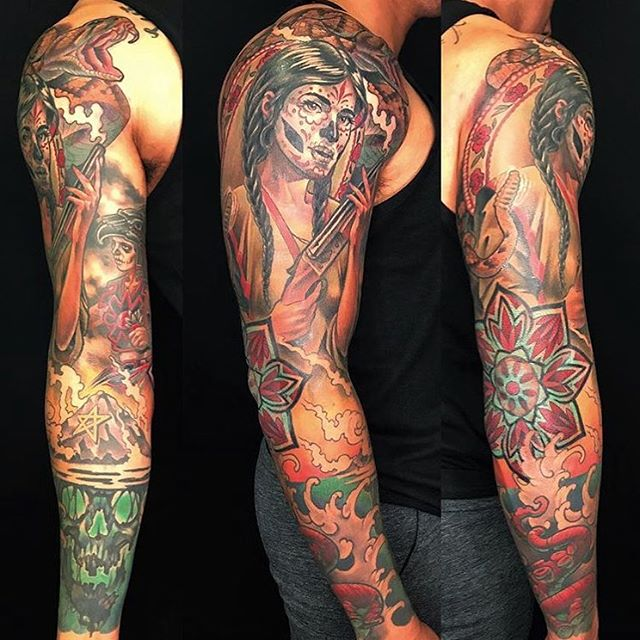 Check out this sleeve by @nathanieltattoo #dayofthedeadtattoo #mandalatattoo #sandiegotattooshop #sandiegotattooartist #sleevetattoo #armsleevetattoo